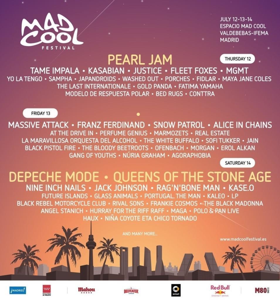 Lineup del Mad Cool Festival 2018