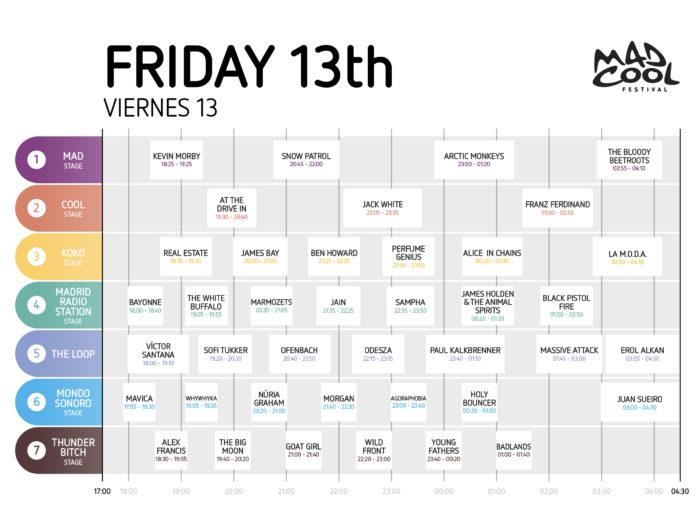 Horarios del viernes 13 para el Mad Cool Festival 2018