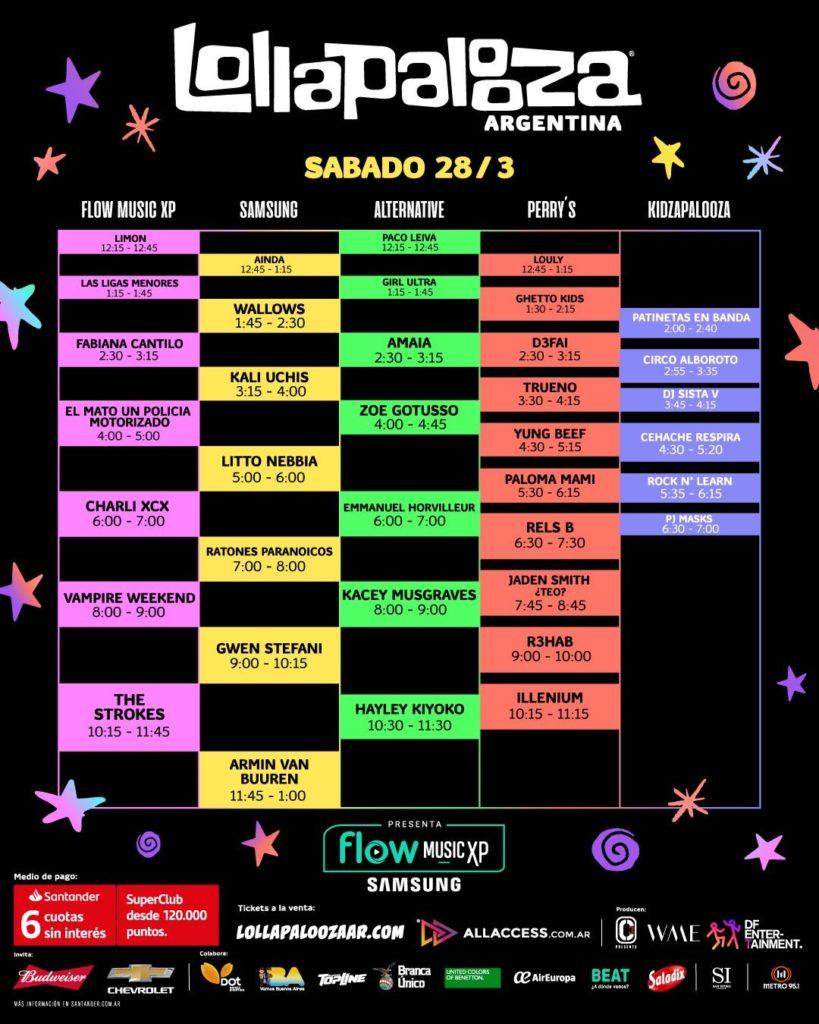 Horarios Lollapalooza 2020 Argentina